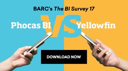 Phocas BI vs Yellowfin BI (user reviews from BARC's The BI Survey 17)