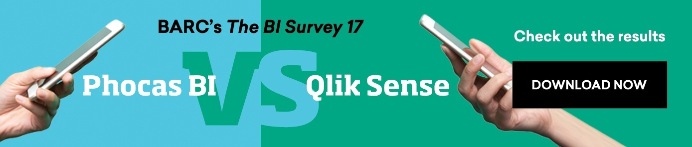 Phocas BI vs  Qlik Sense (based on ratings in BARC's The BI Survey 17)